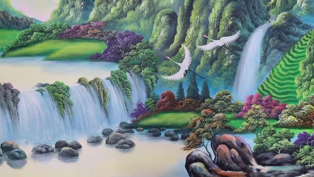 Vẽ tranh tường phong cảnh sơn thủy hữu tình tại Bắc Từ Liêm, Hà Nội – Vẽ tranh nghệ thuật cực đẹp LH