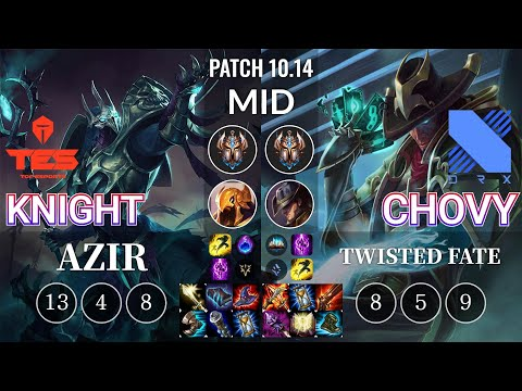 TES knight Azir vs DRX Chovy Twisted Fate Mid - KR Patch 10.14