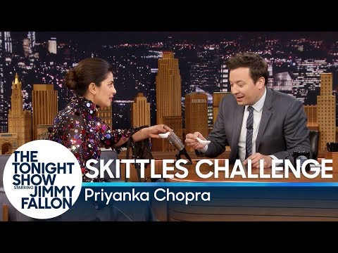 Priyanka Chopra and Jimmy Fallon Compete in a Skittles Challenge