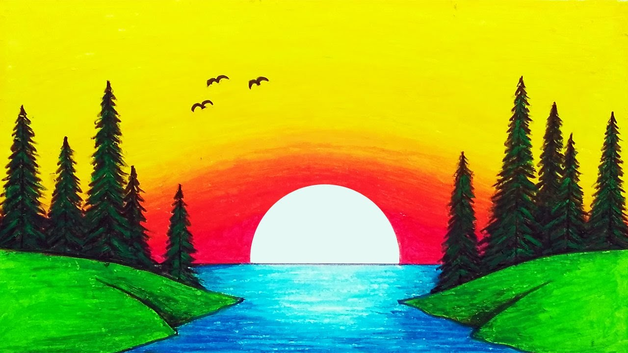 How to Draw Easy Sunset Scenery Drawing Step by Step