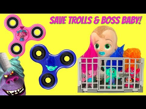 Trolls Movie Poppy Branch Boss Baby in Jail Save with FIDGET SPINNER