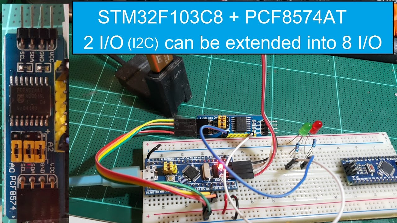 STM32F103C8 +(PCF8574AT) I/O extension module based on I2C, 2 I/O can be  extended into 8 I/O