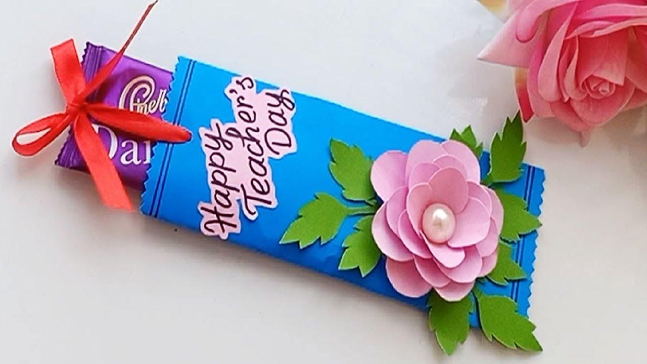diy handmade chocolate gift teacher's day card  handmade