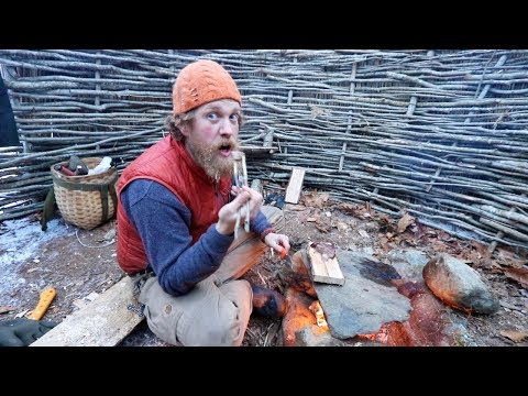 Make a Fireplace In the Winter Survival Shelter And Catch and Cook A Steak (87 days ep. 22)