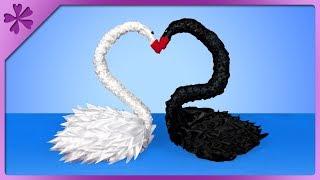 DIY How to make kanzashi ribbon swan, wedding table decoration (ENG Subtitles) - Speed up #502