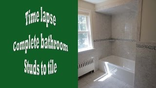 Time Lapse Of Tile Installation Complete Bathroom From Studs To Tile.