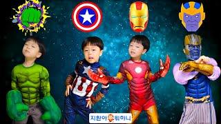 슈퍼히어로 그림자 퍼즐 맞추고 지환이랑 신나게 춤 댄스! 헐크 캡틴아메리카 아이언맨 타노스 Wrong Superheroes Puzzle Dancing with Jihwan