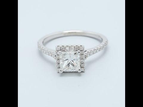 1 Carat Princess Halo Engagement Ring