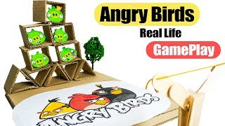 DIY How to Make Real Life Angry Birds gameplay Using Cardboards and Ice cream Sticks at Home
