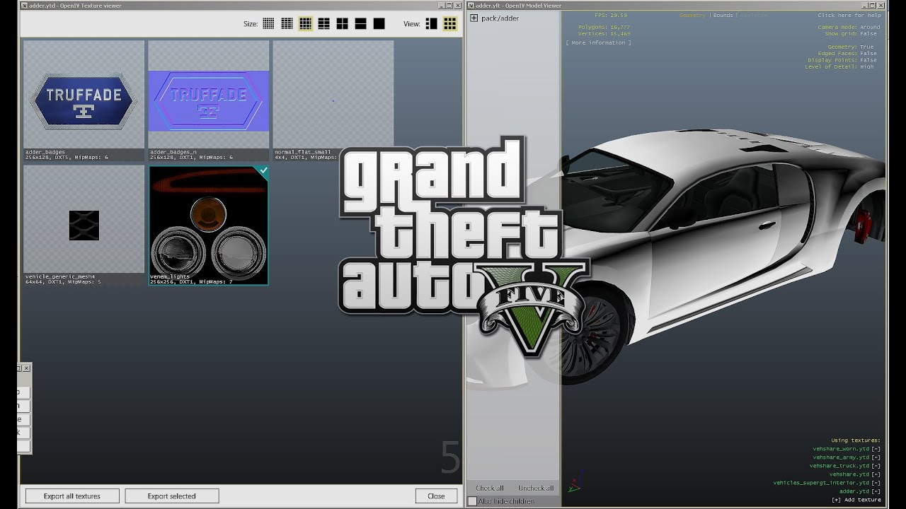 gta 5 pc mods how to edit textures using openiv youtube. Black Bedroom Furniture Sets. Home Design Ideas
