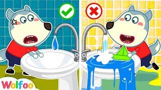 Don't Waste Water, Wolfoo! - Learn Goood Habits for Kids   Wolfoo Family Kids Cartoon