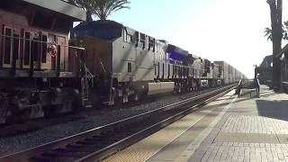BNSF E/B Stack train going thought Fullerton station with NS & CSX unit 2017-07-01