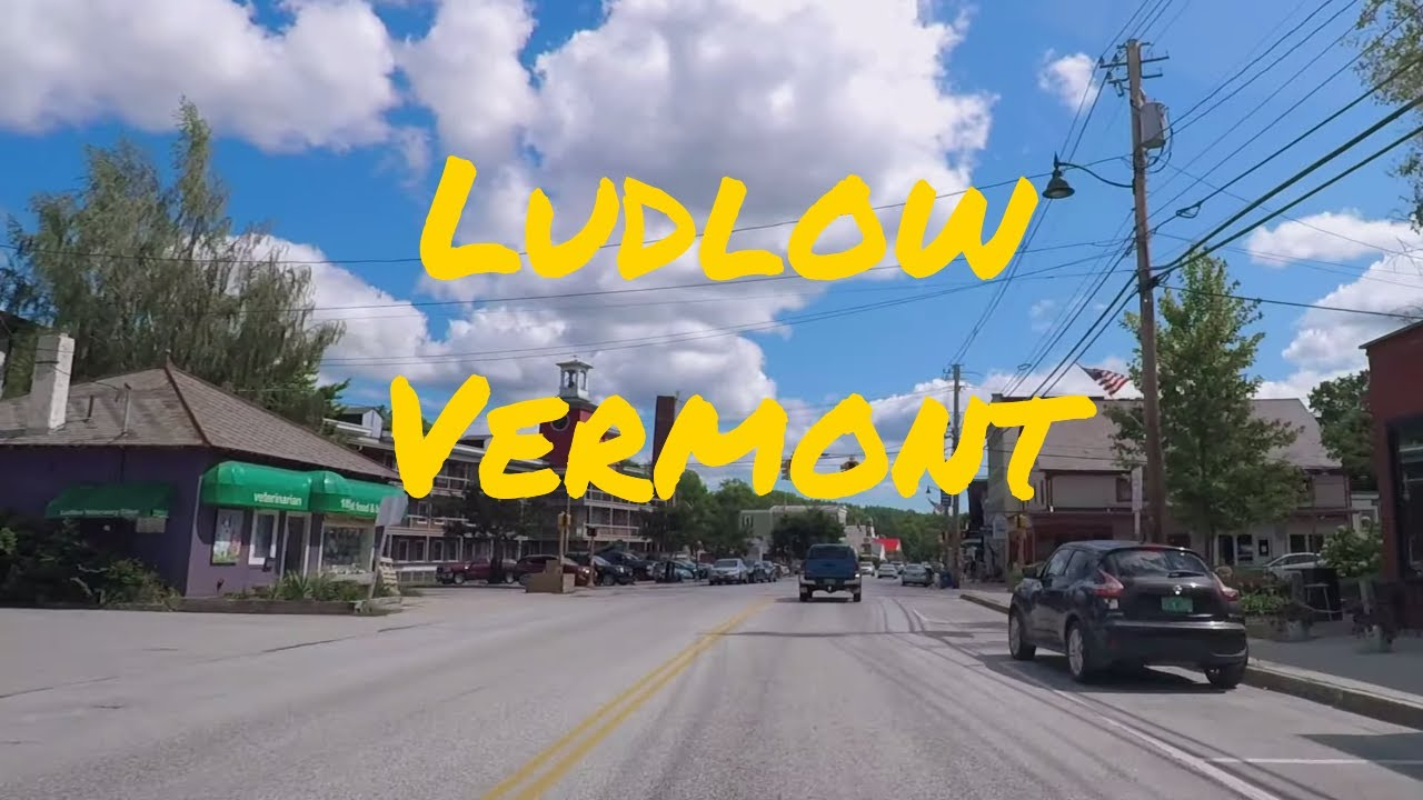 Small Towns in USA: Driving Through Ludlow Vermont (VT), Okemo Mountain Resort
