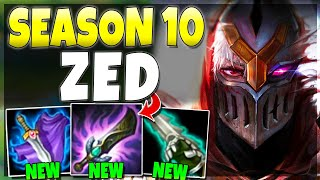 WORLDS FIRST SEASON 10 ZED GAMEPLAY!! (New Rework) vs PROS - League of Legends Video