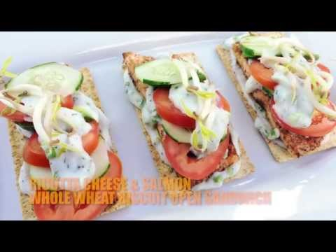 RICOTTA CHEESE AND SALMON WHOLEWHEAT BISCUIT SANDWICH