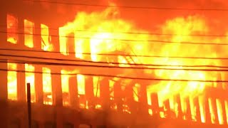 MASSIVE 10TH ALARM FIRE COMPLETELY DESTROY HISTORIC MARCAL PAPER FACTORY IN ELM WOOD PARK NEW JERSEY