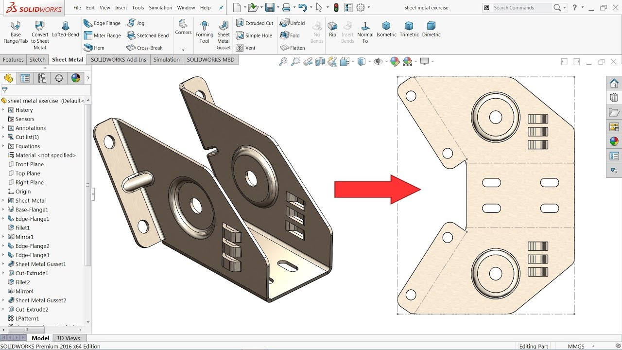 Solidworks Sheet Metal Exercise Youtube