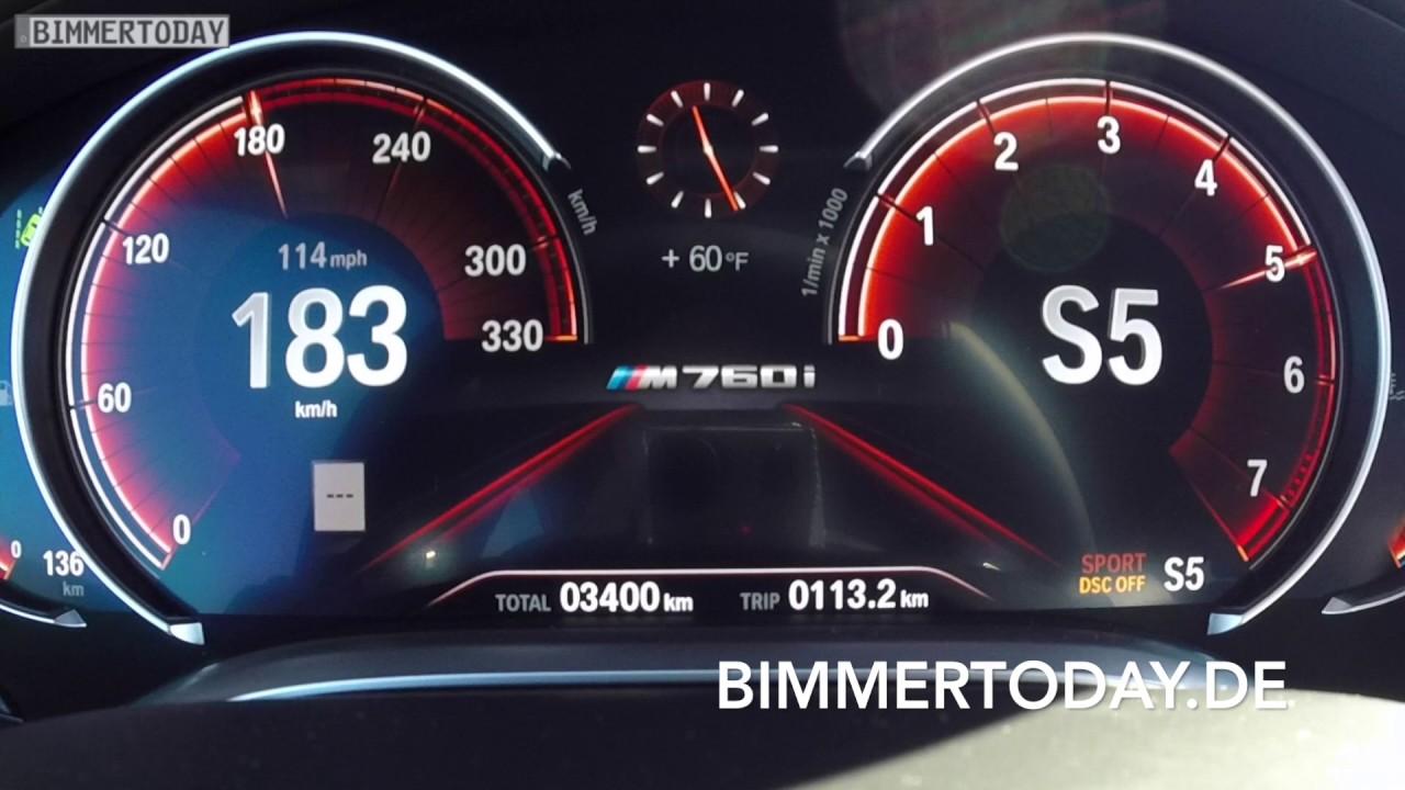 Bmw M760li 2017 Tacho Video 0 200 Km H Youtube