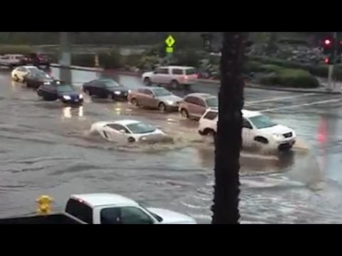 Lamborghini takes on California flood waters