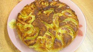 Бисквит с яблоками - видео рецепт
