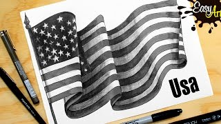 Cómo dibujar la bandera de Estados Unidos /How to draw the United States flag/PARTE 1