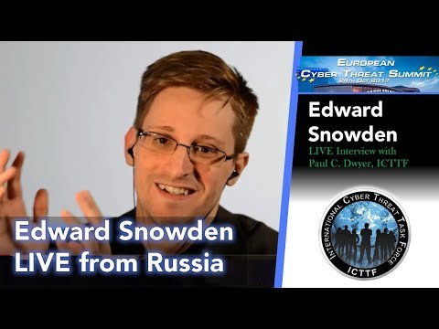 LIVE: Edward Snowden Interview at the Cyber Threat Summit 2017 in Dublin