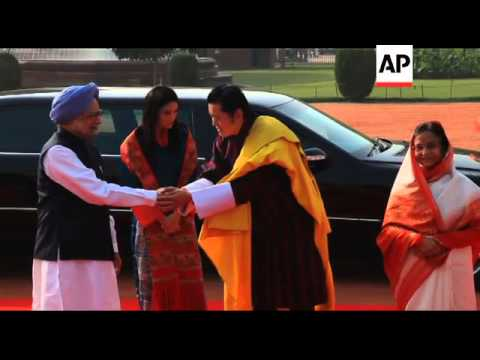 Newlywed king and queen of Bhutan in first foreign visit