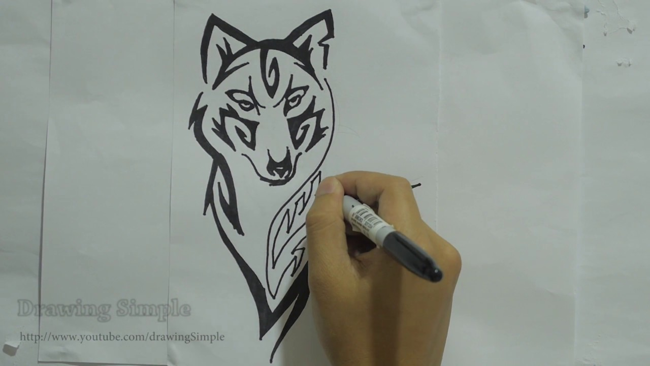 5b6ee088581fe How to draw wolf tribal tattoo design #8 - YouTube
