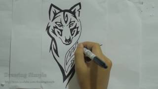 How to draw wolf tribal tattoo design #8