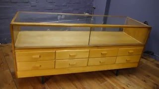 Gambar cover Large Haberdashery Cabinet 1960s Glazed Shop Display Counter