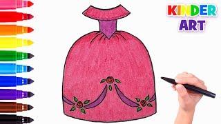 Как нарисовать пышное бальное платье принцессы   How to draw a princess dress easy