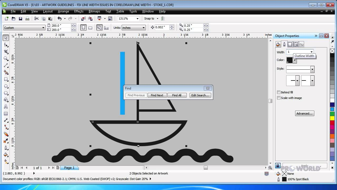 Checking Stroke Thickness In Corel Draw