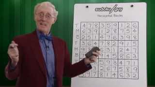Lesson 1  How to solve sudoku for beginners. Horizontal blocks using TMB.