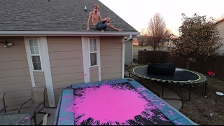 TRAMPOLINE VS PEPTO BISMOL! *WARNING*