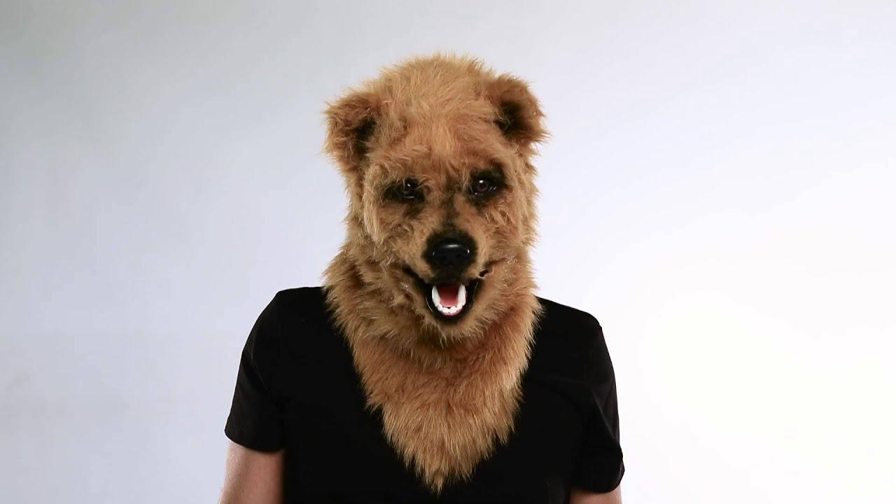 Brown Bear Moving Mouth Mask - Spirit Halloween - YouTube