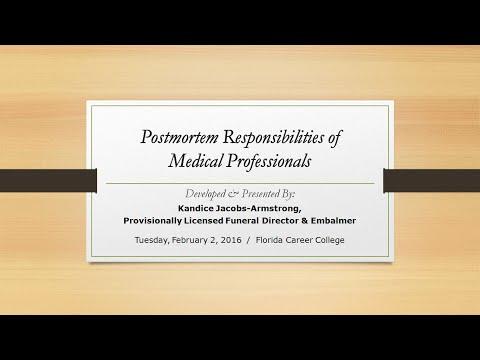"Workshop: ""Postmortem Responsibilities of Medical Professionals"""
