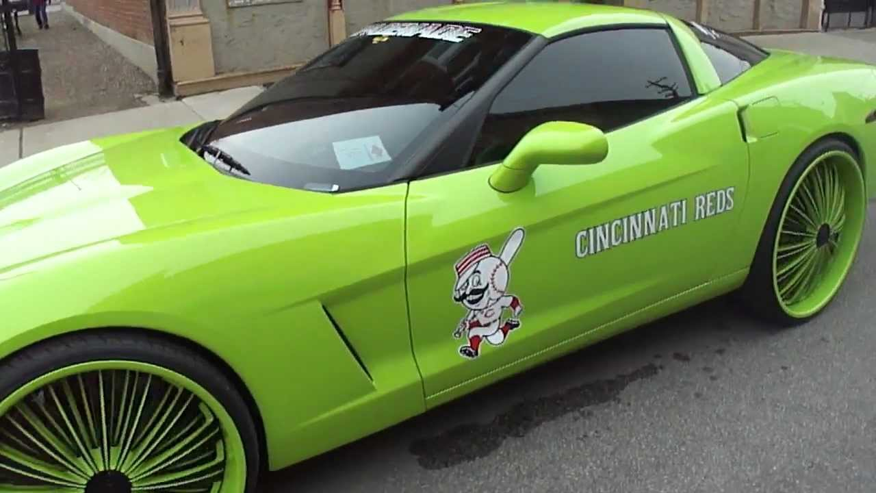 Auto Paint Colors >> 2011 Reds opening day Spade Kreations; lime green Corvette, Duramax - YouTube