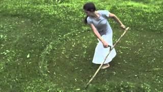 Scything lawn-length grass