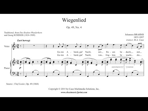 Brahms : Wiegenlied, Op. 49, No. 4 - Soprano or Tenor (F Major)