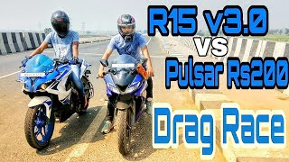 R15 v3.0 vs Pulsar Rs 200 Drag race   Top End   Highway Battle