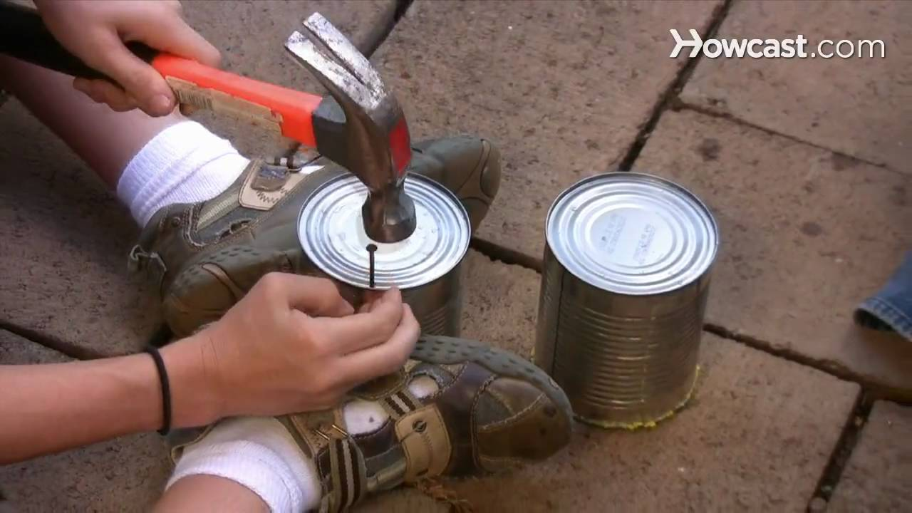 How to make stilts out of old cans youtube for Tin man out of cans