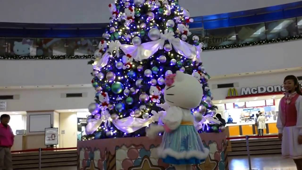 Hello Kitty Christmas Tree.Hello Kitty Christmas Tree At Gate City Ohsaki Raw Video