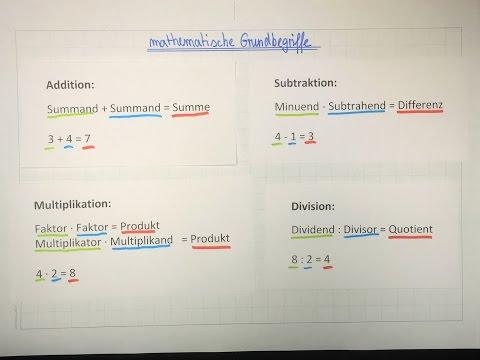 Summe, Differenz, Produkt und Quotient | Begriffe der Mathematik | Lehrerschmidt