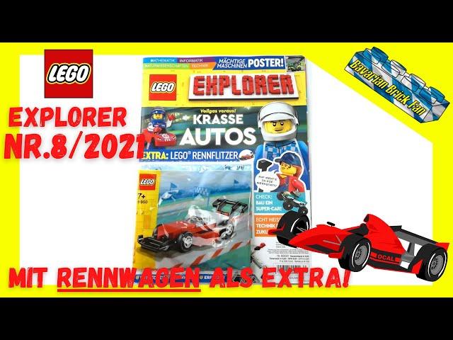 LEGO Explorer Magazin Nr.8/2021 mit Rennwagen (11950) als Extra | Review+Unboxing deutsch