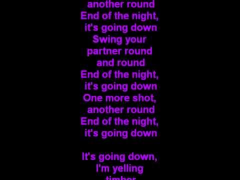 Kesha ft Pitbull Timber lyrics   Words on screen