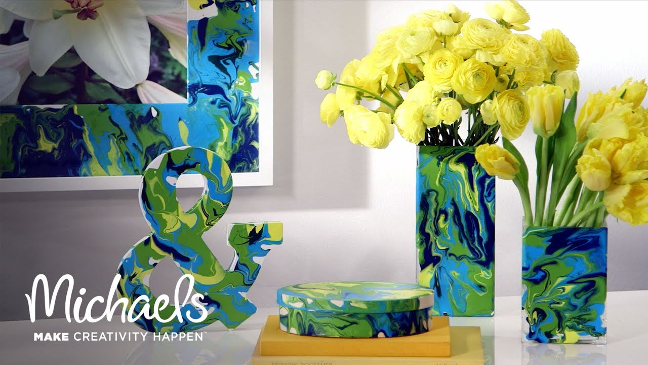 Martha stewart 39 s craft paint marbling michaels youtube for Michaels craft store watches