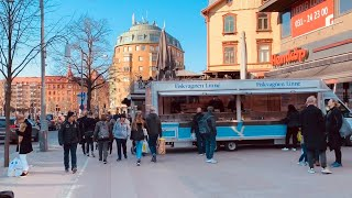 Gothenburg, Sweden: street life, cherry blossom and people of Linnégatan  (1 km walk, natural sound)