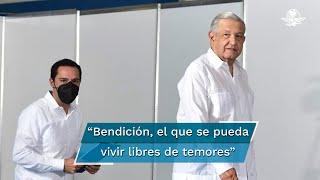 El presidente López Obrador aseguró que los gobernadores de Yucatán han sabido garantizar la paz y la tranquilidad para la población