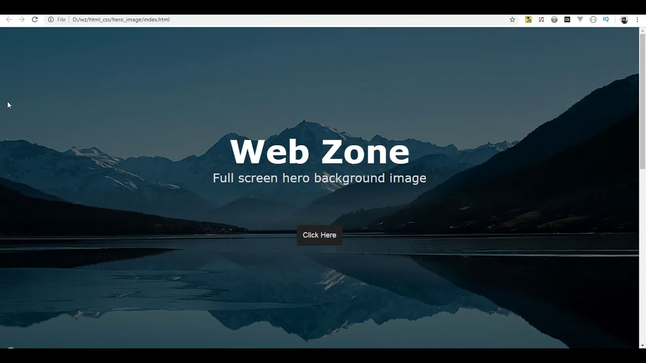 Full Screen Background Image In Html And Css Web Zone Youtube