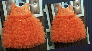 Full length ruffled skirt dress for 2-3year old || detail making